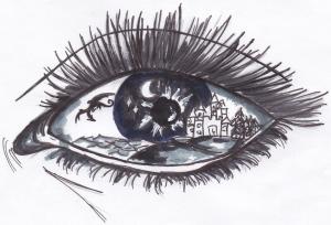 Die Grafik zeigt ein Auge, indem sich eine Fantasiewelt wiederspiegelt: über eine Burg auf einer Bergkette fliegt vor dem Hintergrund eines Nachthimmels ein Drache.
